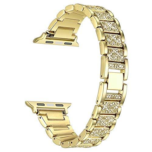 Correa Reloj Serie de la Banda del Reloj 6 5 4 3 2 1 Mujeres de la señora de Las Mujeres Correa para 6 44mm 40mm 42mm 38mm Pulsera de Acero Inoxidable 1 (Band Color : Gold c)