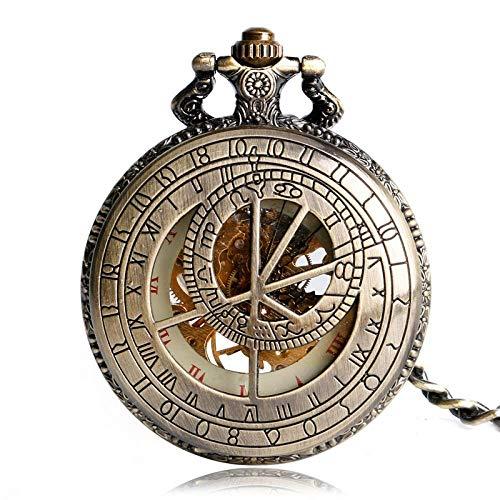 Yxxc Reloj de Bolsillo Cobre Retro Fob Cadena Mecánica Moda Zodiaco Constelación Reloj de Bolsillo Vintage Reloj Elegante Mano Viento Regalo de cumpleaños (Color: Bronce)
