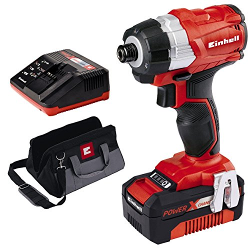Einhell TE-CI 18 Bl Kit 4.0 Power X-Change 18 V Cordless Brushless Impact Driver with 4.0Ah Battery and Carry Bag, Red