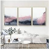 Rosa, azul y gris, arte abstracto, lienzo, pintura, decoración de la pared del...