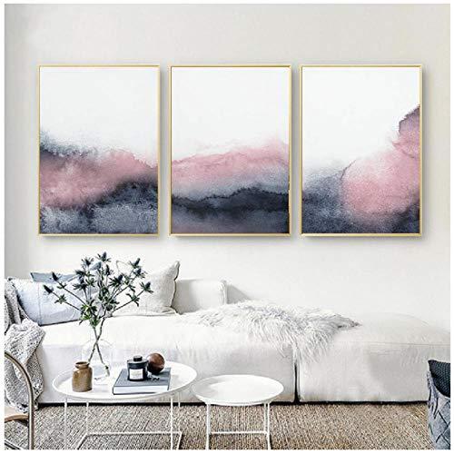 Rosa, azul y gris, arte abstracto, lienzo, pintura, decoración de la pared del dormitorio, carteles e impresiones nórdicos, cuadros de pared para la sala de estar, hogar, sin marco, 50x70 cm x 3