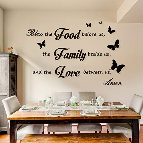 Dinner Prayer Wall Decor Decal Meal Prayer Wall Decor Kitchen Prayer Stickers Bless The Food Before Us Sign Wall Sticker Quote Decal Stickers for Home Decorations Kitchen Dining Room