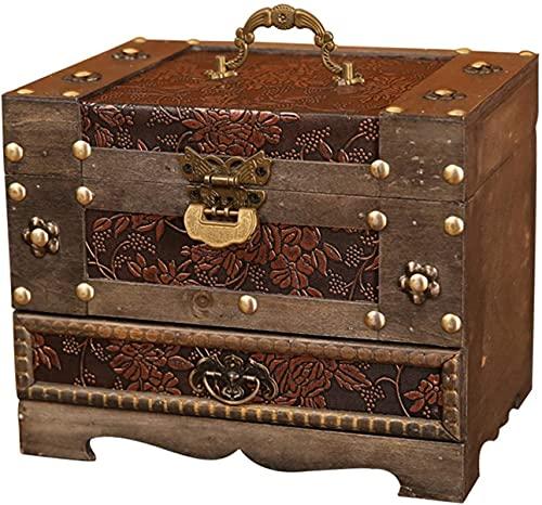 POUAOK Joyero de Madera, con Espejo, Caja de Almacenamiento con Cerradura, Caja de Regalo de 3 Niveles, joyero con Compartimentos Secretos para Anillos.