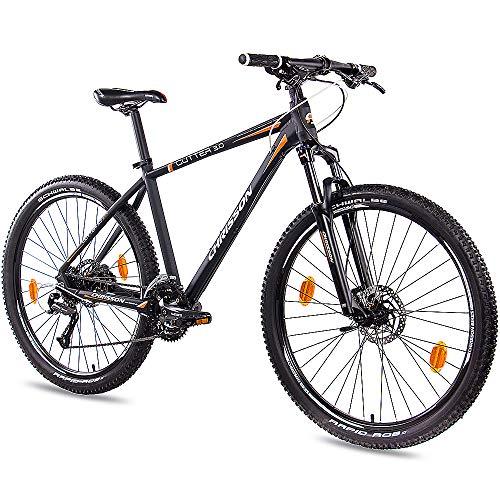 CHRISSON 27,5 Zoll Mountainbike Hardtail - Cutter 3.0 schwarz orange 51 cm - Hardtail Mountain Bike mit 27 Gang Shimano Acera Kettenschaltung - MTB Fahrrad für Herren und Damen Suntour Federgabel