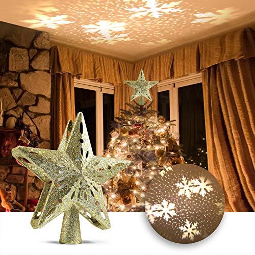Top Estrella Proyector LED para Árbol de Navidad, Nieve Copo Navidad Árbol Proyector, Navidad, Vacaciones, Fiesta, Cine en Casa, Decoraciones Interiores, Regalo - Dorado