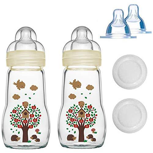 MAM Glasflasche Glas Flasche Feel Good Glass Bottle 260 ml Glas Flasche inkl. 4 Sauger, ab Geburt bis 6 Mo.