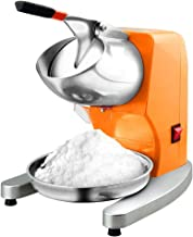 Ice Crushers Ice Shaver Machine Electric Snow Cone Maker Machine Stainless Steel Shaved Ice Machine 200lbs/hr for Home and Commercial Use (Color : Orange+Silver, Size : 302632cm)