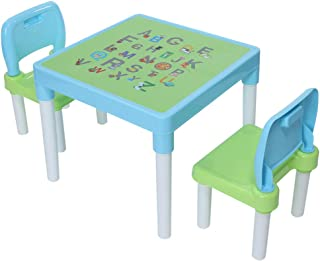 NszzJixo9 Kids Activity Table, Table & Chairs Set, Includes 1 Table, 2 Chairs,Interesting English Alphabet Table (Light Blue)