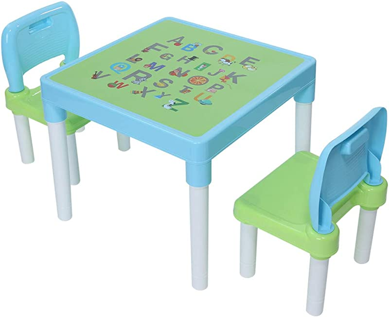 MAMaiuh Plastic Kids Table Round Table And 2 Chair Set Set For Boys Girls Toddler Blue Pink