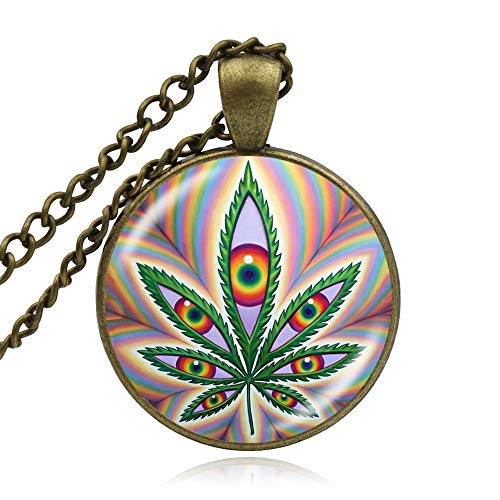 SWAOOS Regalo De Collar De Hoja De Marihuana para Niña Niño Vidrio Cabocho Árbol Hoja Colgante Collar DIY Hecho A Mano