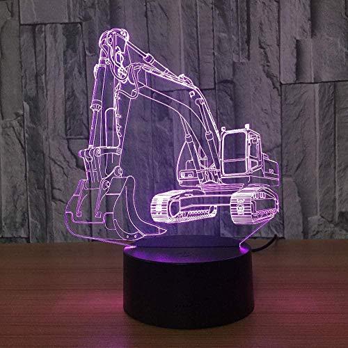 YOUPING Excavadora 3D Luz de Noche Ilusión Led Mesa Lam 7 Colores USB Novedad Coche Forma Escritorio Mesita Noche Luz Decoración Lámparas para Niños Regalo Acrílico Lámpara