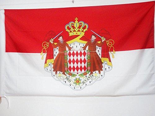 AZ FLAG Flagge Monaco MIT Waffen 90x60cm - FÜRSTENTUM Monaco Fahne 60 x 90 cm Scheide für Mast - flaggen Top Qualität