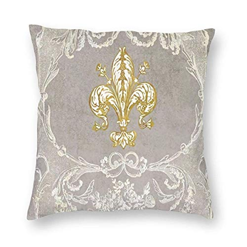 Fundas de cojín decorativas Fleur De Lis costosas cortinas de ducha cuadradas, fundas de almohada para sofá, sala de estar, 45,7 x 45,7 cm