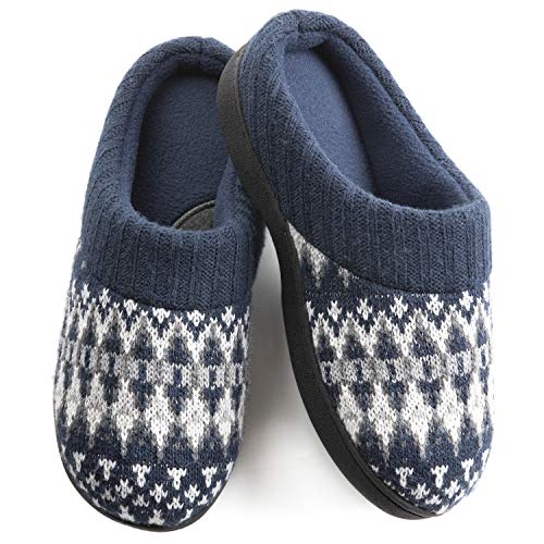 Wishcotton Womens Cozy Breathable Christmas Style Memory Foam Slippers Nonslip Rubber Sole House Shoes,Navy,11-12 M US