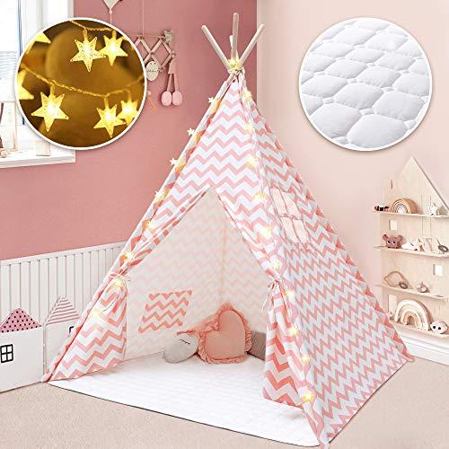 Tienda Tipi para niños con tapete y Ligero - Tienda de campaña para niñas Tipi de Lona de algodón Rosa Chevron