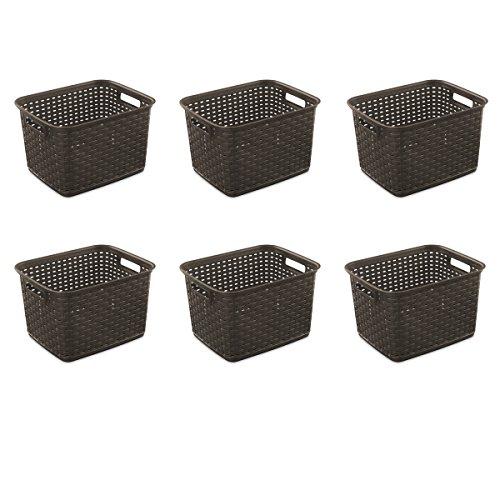 Sterilite 12736P06 Tall Weave Basket, Espresso, 6-Pack