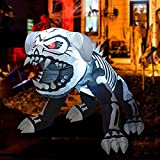 GOOSH 5 Feet Length Halloween Inflatable Puppy Skeleton Dog with Built-in Flashing Red F5 Lights, Blow Up Yard Decoration Clearance with LED Lights Built-in for Holiday/Party/Yard/Garden
