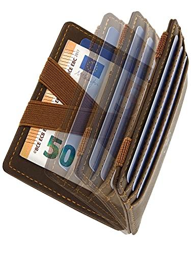 WEST® - Magic Wallet mit Münzfach + Geschenkverpackung - magische Geldbörse kompakt & klein - Trick Geldbörse - extra Starke Geldbänder - dünne Geldbörse mit Münzfach - RFID Schutz (BRAUN-ORANGE)