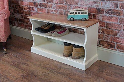 The Good Shelf Company Pindars Banc à chaussures en chêne massif et pin 91,4 cm Crème