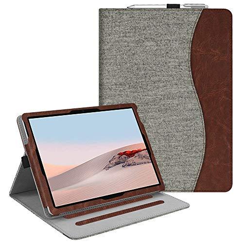Fintie Hulle fur Surface Go 2 2020 Surface go 2018 10 Zoll Tablet PC Multi Winkel Betrachtung Kunstleder Schutzhulle Etui Cover Case mit Dokumentschlitze und Stylus Halterung Denim grau