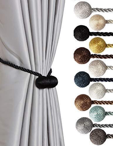 SBROS Strong Magnetic Curtain Tiebacks Modern Upgrade 2021 Drape Tie Backs Decorative Twisted Handmade Rope Holdback for Window Draperies (2, Black)