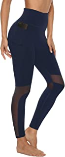 AFITNE Women's Mesh Yoga Pants with Pockets, High Waist Tummy Control 4 Way Stretch Workout Non See-Through Yoga Pants