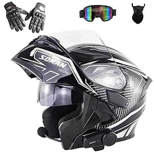 Casco Modular de Motocicleta de Cara Completa con Bluetooth Integrado, Casco Abatible, Casco de Doble Visera Aprobado Por Dot/Ece con...