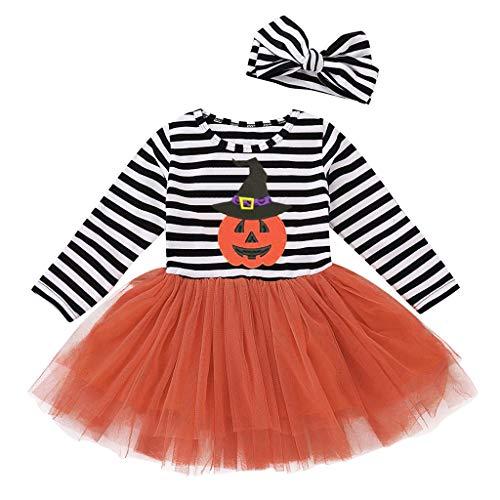 Sallydream_ Disfraz Halloween Niña Conjunto de Bebé Recién Nacida con Camisa Manga Larga Falda de Tutú Diadema y Calentador Traje de 2 Piezas para Niñas,1-5 años(Naranja,18-24 Meses)