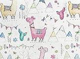 Kinderstoff – niedliche bunte Lamas ~ Berge ~ Kakteen ~