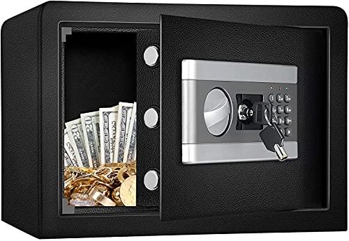 Kacsoo Caja fuerte de seguridad digital, caja fuerte de 17 l confidencial archivador electrónico con contraseña, a prueba de humedad, a prueba de golpes, todo de acero en la pared para el hogar y