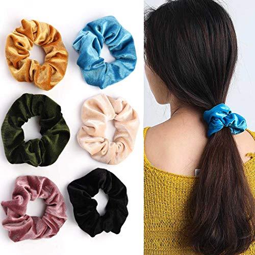 Genglass Hair Scrunchies Flanell Haarseil Reißverschluss Schwarzes Haar Zubehör für Frauen und Mädchen 6PCS