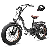 """Trekpower 20"""" Electric Bikes for Adults, Dual Disc Brake Electric Mountain Bike, 500W Motor Electric Bicycle&48V Removable Lithium Battery, (Silver/Black) (Black)"""
