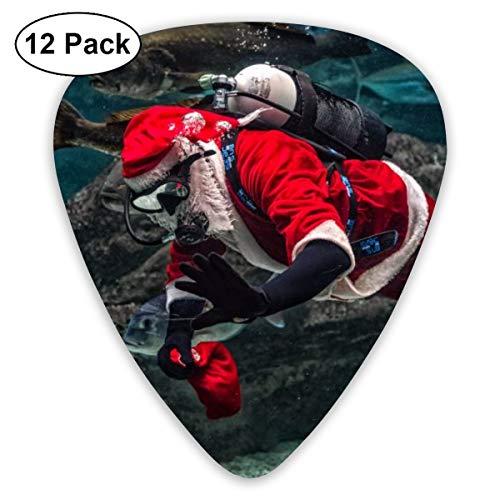 Cavdwa Man In Santa Claus-Kostüm mit Tauchausrüstung im Aquarium, personalisierbare 12-teilige Gitarrenplektren, 0,96 mm, 0,71 mm, 0,46 mm, Mode für Gitarre, Bass und E-Gitarre