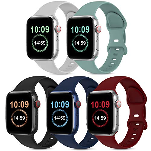 5 Pack Bands Compatible with Apple Watch Band 38mm 40mm 42mm 44mm, Soft Silicone Sport Replacement Strap Compatible with iWatch Series 6 5 4 3 2 1 SE Women Men Black Wine Red Cactus Grey Navy Blue