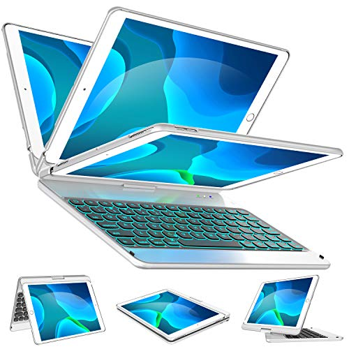 iPad Keyboard Case for iPad 7th Generation 10.2, iPad Air 10.5 3rd Gen, iPad Pro 10.5 - Backlit - 360 Rotatable - Wireless Keyboard with Smart Folio Hard Back Cover - iPad 10.2 case with Keyboard