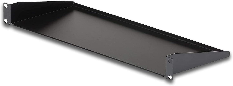 1U Black Server Rack Mount Shelf,7in Deep Fixed Steel Universal Tray for 19-inch AV, Network Equipment Rack & Data/Cabinet-33lbs.