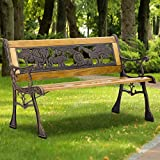 Outdoor Kid Bench Seating, 32.6' Kids Mini Sized Hardwood Bench w/Metal Frame & Cast Iron Armrest, Antique Safari Animal Garden Bench for Children Patio Lawn Balcony Backyard Porch and Indoor