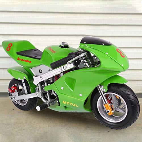 Kids Gas Powered Pocket Bike,Off-Roading Rocket Motorcycle,49cc 2-Stroke Dirt Bike Dirt Pit Bikes Pit Bike for Teens Youth,Big Wheels (Green, US Stock) -  Leadmall-direct