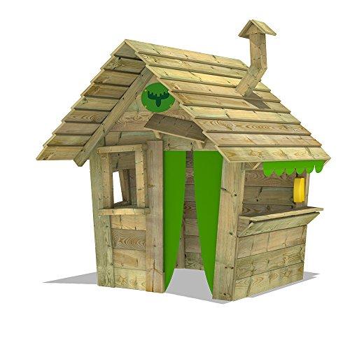 Fatmoose HippoHouse Heavy XXL Speelhuisje voor in de tuin, houten dak, schoorsteen en brede toonbank