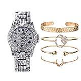 JunMei Bling-ed out Hip Hop Reloj y Conjunto de Joyas Reloj de Mujer con Juego de Regalo con 4 brazaletes de puño a Juego