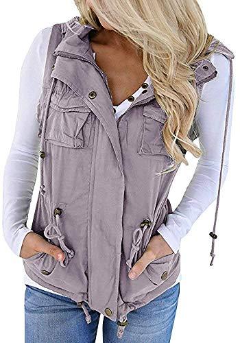 Soulomelody Womens Military Anorak Sleeveless Vest Safari Utility Drawstring Lightweight Hoodies Jacket with Pockets Grey