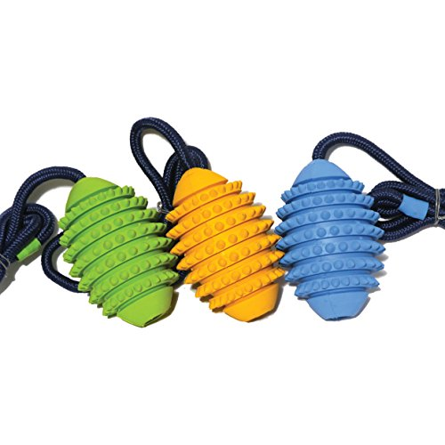 Rosewood Pet Products Hundespielzeug Rugby Ball am Seil Gummi, mittel, 12cm