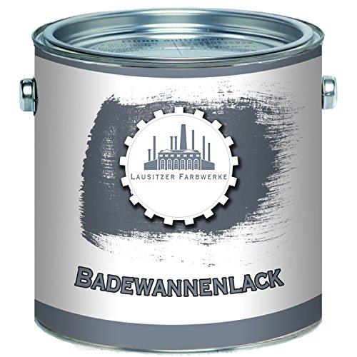 Lausitzer Farbwerke traditioneller 2K Badewannenlack GFK-lack Emaille Beschichtung hochwertiger Speziallack FARBAUSWAHL Wanne Waschbecken Duschwanne Badewanne Fliesenlack (1 L, Weiß)