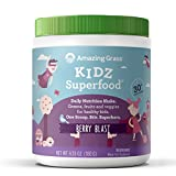 Amazing Grass Kidz Superfood: Organic Greens, Fruits, Veggies & Probiotics for Healthy Kids, Berry Blast, 30 Servings