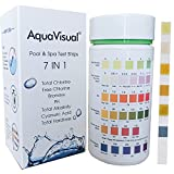 Aquavisual 7 Way Pool and SPA Test Strips for Pool and Hot Tub Chemicals, Water Test Kit for Total Hardness, Total Chlorine, Free Chlorine, Bromine, PH, Total Alkalinity, Cyanuric Acid 100 Counts