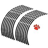 X AUTOHAUX 16pcs Fits 18'' Rim Motorcycle Car Wheel Rim Sticker Decal Tape Strip Decoration Accessory Universal Black