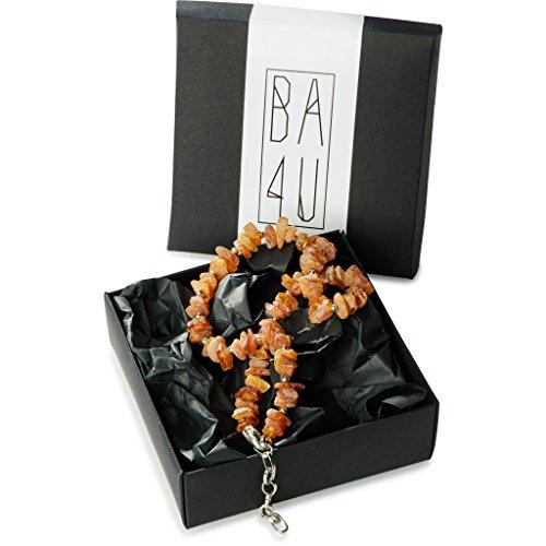 BA4U Bernstein Halsband mit dekorativer KetteCC50 ★ 50-53 cm Bernsteinkette für Hunde und Katzen ★ Zeckenhalsband ★ Zeckenschutz ★ 100% authentisches und natürliches Produkt ★