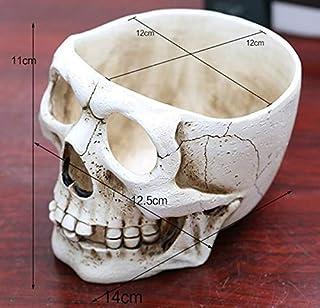 Hand Carved Skull Flower Pot Bone Bowl Home Garden Decor Halloween Decoration (Color : E)
