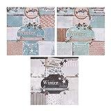 Ewtshop® Bloc de notas, 3 unidades de 36 hojas cada uno impresas por una cara, papel de diseño, papel para manualidades, papel decorativo, 108 hojas, 27 diseños