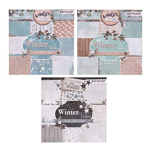 ewtshop® 3 x Motivblock mit je 36 Blättern einseitig Bedruckt, Designpapier, Bastelpapier, Dekorpapier, 108 Blätter, 27 Designs